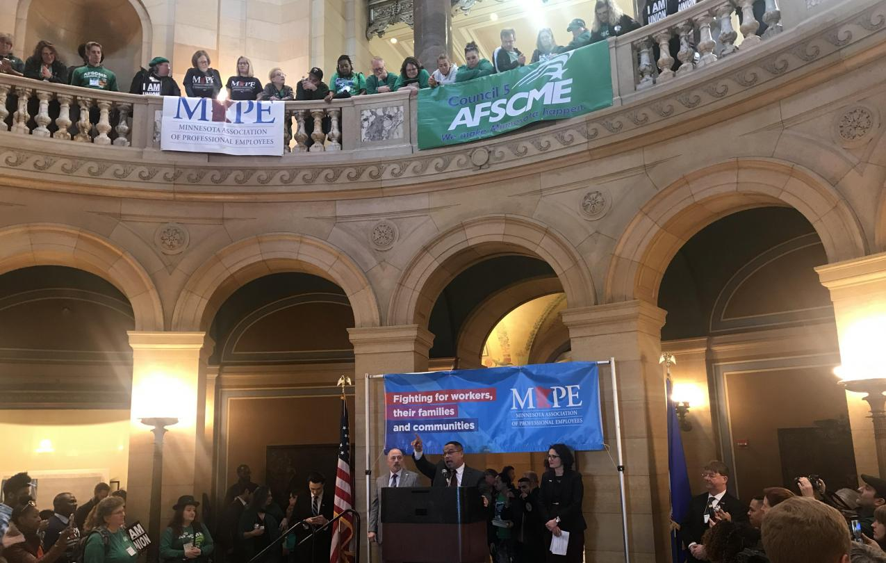Attorney General Keith Ellison speaks at the AFSCME/MAPE rally